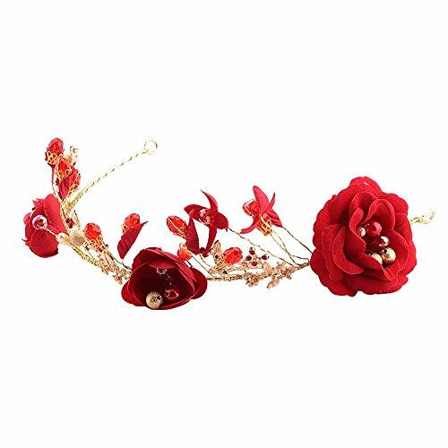 Weddwith Accessoires de coiffure Nuptiale Coiffure Bande de cheveux rouges Sweet Style japonais et coréen Accessoires de fleurs Robes de mariée Robes de mariée Accessoires