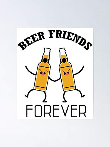 MCTEL Beer BFF Poster 12x16 Inch No Frame Board for Office Decor, Best Gift Dad Mom Grandmother and Your Friends