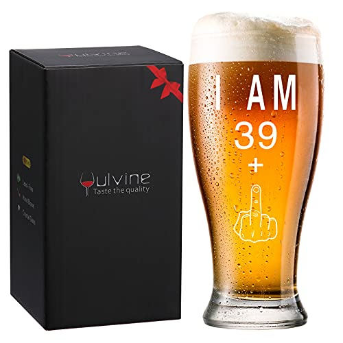Funny 40th Birthday Gifts for Men Happy Man 40 Year Old Gift Ideas for Mens Gag Gifts for Men's 40th Bday Party Decorations Supplies for Him Husband Turning 40 I Am 39+ Beer Glass 13oz