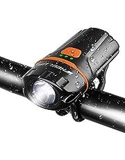 自転車ヘッドライト USB充電式小型ledライト wheel up超強力ミニ ハンディライト 高輝度6段階点灯モード IP65軍用防水/防振/防災 懐中電灯兼用大容量2500mah スポーツ・アウトドア用SOSフラッシュライト