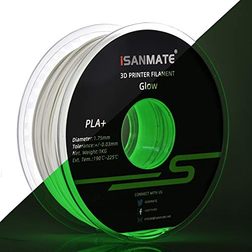 iSANMATE Glow in The Dark Filament, PLA+ Filament 1.75mm, PLA+ 3D Printer Filament, Dimensional Accuracy +/- 0.03 mm, 1 kg Spool