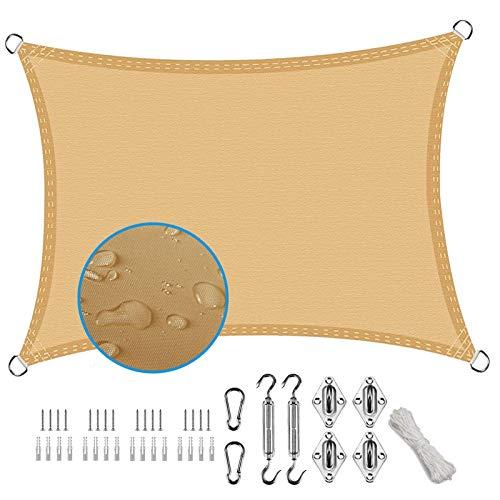 XXJF Vela De Sombra Toldos Exterior Rectangular Protección UV para Resistente E Lmpermeable,toldo Vela De para Patio Exteriores Céspede, Jardín, Exteriores, (Color : Sand, tamaño : 3x4m)