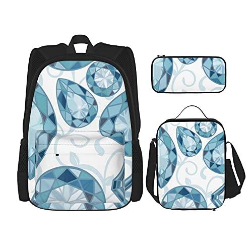 Bingyingne Diamantes azules Vine en blanco Mochilas escolares Caja de almuerzo Estuche para lápices 3 piezas Mochilas combinadas para bolsas de escuela secundaria y universitaria