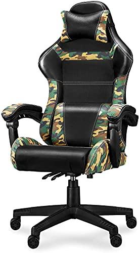 Huracan Gaming Stuhl Tarnmuster Racing Bürostuhl, Optimal Unterstützt die Wirbelsäule, Schaumstoff Gepolstert, Kohlefaser Optik, mit Kissen, Gaming Chair für Erwachsene Kinder (Tarnmuster Dunkel)