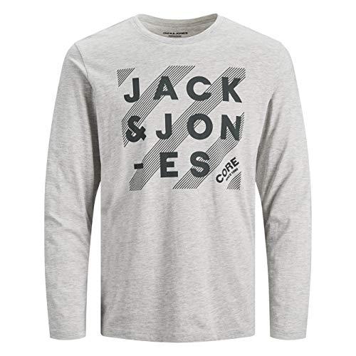 Jack & Jones JJHERO tee LS Crew Neck Camiseta, Gris Claro, M para Hombre