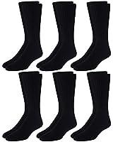 Calvin Klein Men's Socks - Cushioned Cotton Blend Casual Mid-Calf Crew Socks (6 Pack), Black, Shoe Size: 6-12.5