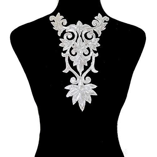 Classical Style Embroidery Decorative Multi-Color Decorative Small Iron Patch 25X16cm(Silver)