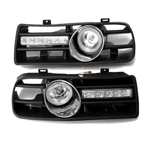 Weishazi 1 Paar Stoßstangengitter vorne unten mit LED Nebelscheinwerfer & Tagfahrlicht für VW Golf MK4 weiß