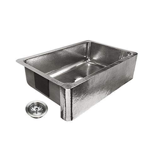 Sinkology SK701-33HSP-AMZ-B Percy All-in-One Farmhouse Apron-Front 32 in. Single Bowl in Polished Finish and Strainer Drain Crafted Stainless Steel Kitchen Sink