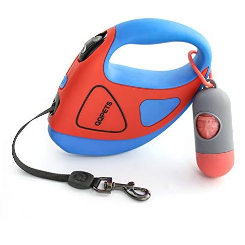 Rollleinen für Hunde 5m, Einziehbar Hundeleine mit Led Taschenlampe Licht, Hundekotbeutel mit Beutelspender, für Kleine Große Hunde Maximales Gewicht Bis 50kg, 360 ° Verwirrungsfrei