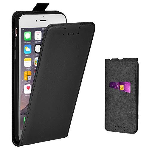 Adicase iPhone 6 Plus Hülle Leder Tasche für Apple iPhone 6 Plus / 6S Plus 5,5 Zoll Handyhülle Flip Case Schutzhülle (Schwarz)