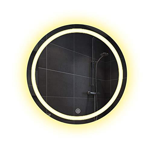 Miroirs Salle De Bains LED Lumière Salle De Bains Tenture Murale Nordic Toilet Touch Rond (Color : Silver, Size : 60 * 60 * 3cm)