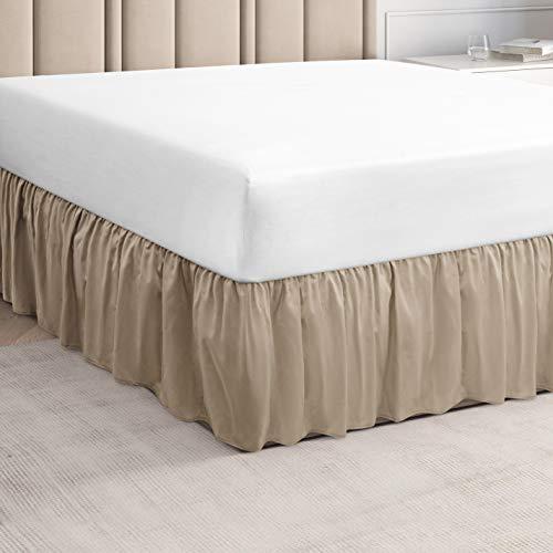 CGK Unlimited Rüschen-Bett-Rock in Hotel-Qualität mit Rüschen, Queen-Betten mit 35,6 cm Fallhöhe – unter der Matratze, King-Size-Bett für einfache Montage mit gebürstetem Stoff