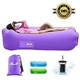 Tumbona hinchable de SLB – Tumbona de aire impermeable con reposacabezas, tumbona portátil con bolsa de almacenamiento para camping, jardín, playa y piscina (morado)