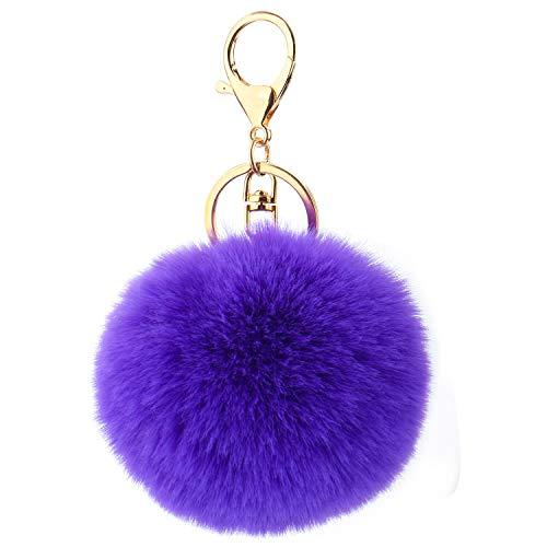 Kereda Pompon-Schlüsselanhänger, flauschiger Kunstfell-Ball mit vergoldetem Schlüsselanhänger, Handtasche, Rucksack, hängender Ornament, Anhänger, Zubehör für Damen, Mädchen, Frauen Gr. 8 cm , violett