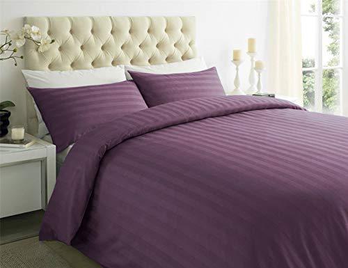 ES Bargains Duvet Cover 400TC Egyptian Cotton Stripe Duvet Quilt Cover With Pillowcase Bedding Set (Plum, King)