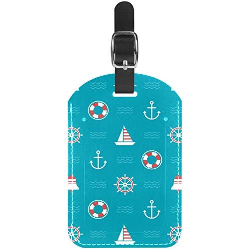 Kofferanhänger, nautischer Anker, Rettungsring, Kompass, blau, Leder, Reisekoffer, Etiketten, 1 Packung