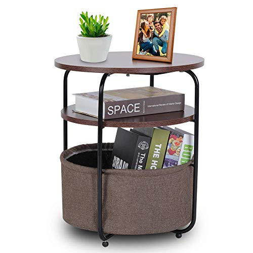 Side Table Coffee Table,Storage Basket Side Table,Round Coffee Side Table 3 Tiers Modern Night Stand Small Sofa End Bedside for Living Room Bedroom Brown Walnut (42 × 42 × 51 cm)