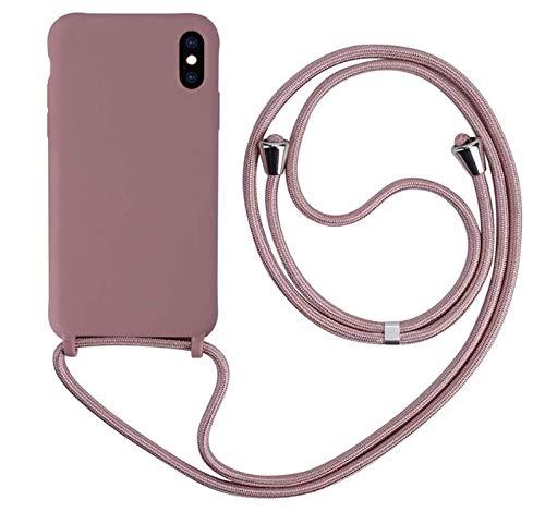MEIVS Funda Compatible con iPhone XR, Ajustable Collar Correa de Cuello CordónCarcasa de Silicona-Loto Color