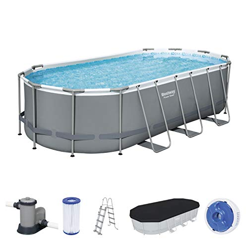 Power Steel Frame Pool Komplett-Set, oval, mit Filterpumpe, Sicherheitsleiter & Abdeckplane 549 x 274 x 122 cm