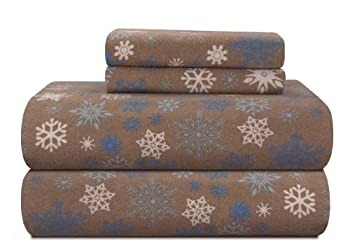 Pointehaven Heavy Weight Printed Flannel Sheet Set Cal King Snow Flakes/Tan