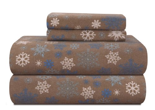 Pointehaven Heavy Weight Printed Flannel Sheet Set, Cal King, Snow Flakes/Tan