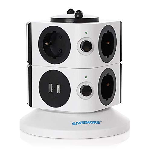 Mehrfachsteckdose SAFEMORE Schaltbar 7 Fach Steckdosenleiste Verteilersteckdosen Steckdosenturm mit 2 USB (5V/2.1A) hat 2100J Überspannungsschutz 2500W/10A - Weiß + Schwarz