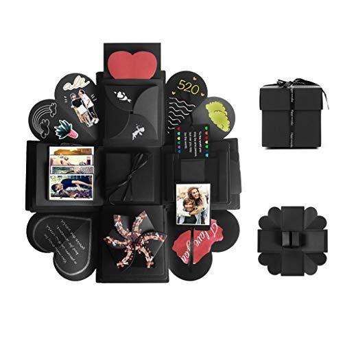 Tumao Caja de Regalo Creative Explosion Love Memory DIY Álbum de Fotos cumpleaños, una Sorpresa Sobre el Amor, Abierto con 14''14''4.7 '', Negro. (Caja de Regalo)