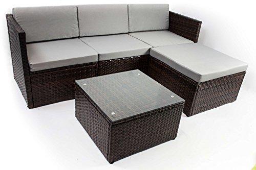 AVANTI TRENDSTORE - Adelino - Set da giardino con tavolino incluso, in polirattan marrone scuro e vetro, cuscini di seduta in grigio