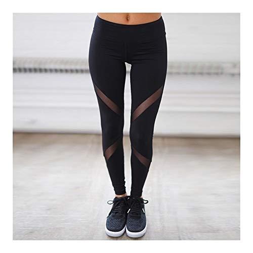 Leggings Casuales Mujeres Pantalones de Fitness de Malla Negra Mujeres Leggins de Cintura Alta Empuje hacia Arriba Leggings Punk Leggins Entrenamiento Sexy Sportleggings (Color : Black, Size : M)