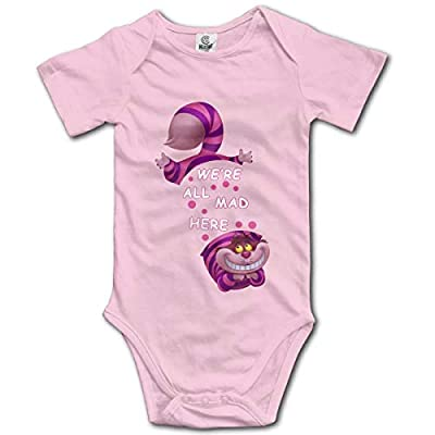 We are All Mad Here Cheshire Cat Cute Toddler Rompers Summer Short Sleeve Onesie Pink