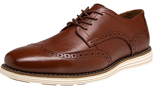 JOUSEN Men's Dress Shoes Wingtip Brogue Leather Oxford (9.5,Oxblood)