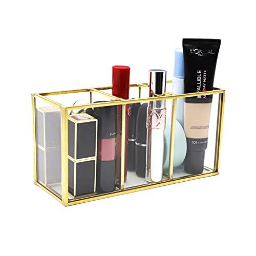 JOLIGAEA Make up Organizer, Beauty Organizer, Kosmetik Pinselhalter, Tray Schmuck Pinselhalter Gold, Transparenter Glas Make-up Pinsel Aufbewahrungskiste, Luxus Kosmetika Aufbewahrungsbox Behälter