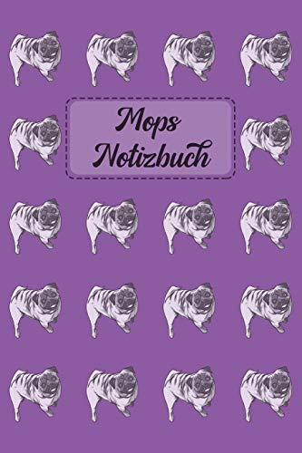 Mops Notizbuch: Journal für Notizen in violett mit Mops-Muster - 6 x 9 (ca. A5)