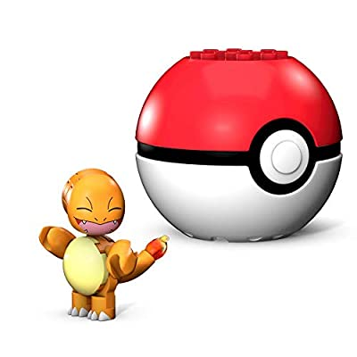 Mega Construx Pokemon Charmander Salameche Poke Ball, Multicolor