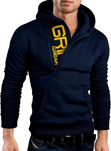 Grin&Bear Slim fit Halfzip Jacke Kapuze Hoodie Sweatshirt Kapuzenpullover, Navy, L, GEC401