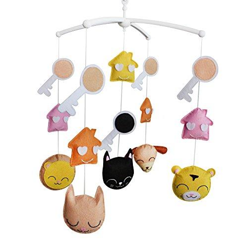 Jouets éducatifs Décor de chambre d'enfant Design cousu à la main décoration de lit de bébé cadeau musical pour nouveau-né Mobile musical pour 0-1 ans (clé)