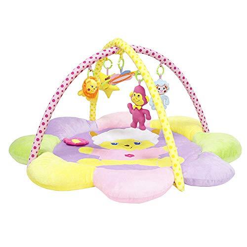 SMUOO Blume Runde Baby Spielmatte, Baby Fitness Rahmen mit Rassel Spielzeug, Geeignet für Babys von 0-12 Monaten Activity Center