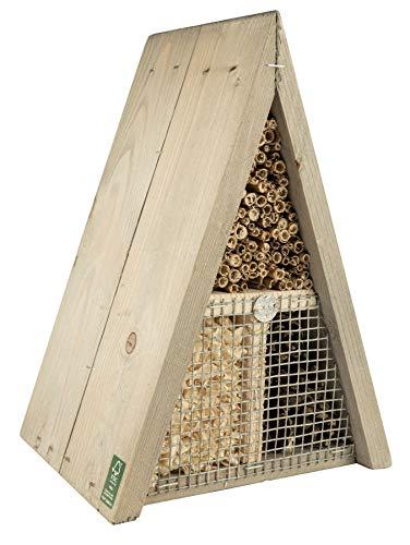 mgc24 Insektenhotel für Bienen, Käfer und andere Insekten - aus Naturmaterial, dreieckig, grau-braun, ca. 16 x 19 x 27cm