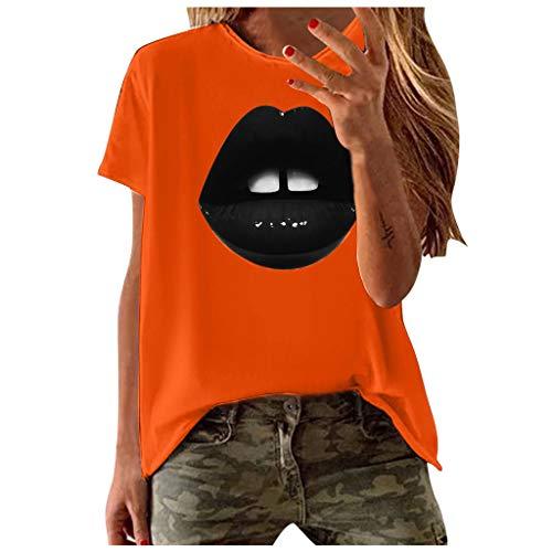 Yowablo T-Shirt Femmes Mode Casual Manches Courtes Impression O-Neck Blouse Tops (L,1Orange)