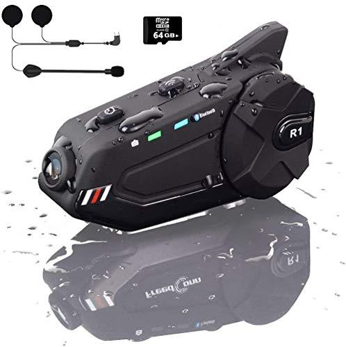 MHCYKJ Motorcycle Bluetooth Intercom with 1080P Camera Recorder FM Radio Microphone 1000M 6Riders BT 5.0 IP65 Voice Calling 1500mAh Battery Motorcycle Helmet Bluetooth,Hard Wheat