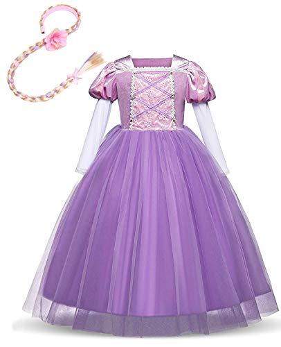 FMYFWY Sofia Rapunzel Principessa Carnevale Costumi Ragazze Natale Halloween Cosplay Vestito di Compleanno Comunione Cerimonia Pageant Festa Nozze Battesimo Abiti con Rapunzel Parrucca 5-6
