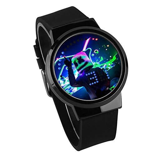 Relojes De Pulsera,Pantalla Táctil LED Reloj DJ Música Periférico Impermeable Luminoso Reloj Electrónico Regalo De Cumpleaños Personalizado, Arma Color Cáscara Cinturón Negro