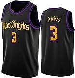 XUECHEN Ropa Jerseys de Baloncesto para Hombre, NBA Los Angeles Lakers # 3 Anthony Davis - Chaleco Transpirable Suelto Uniformes Classic Comfort Camiseta sin Mangas Tops, Negro, S (165~170 cm)
