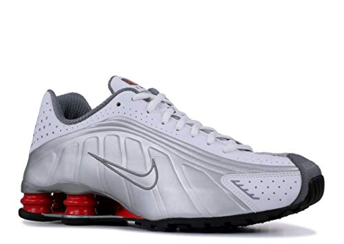 Nike Mens Shox R4 Sneakers New, White/Silver/Red BV1111-100