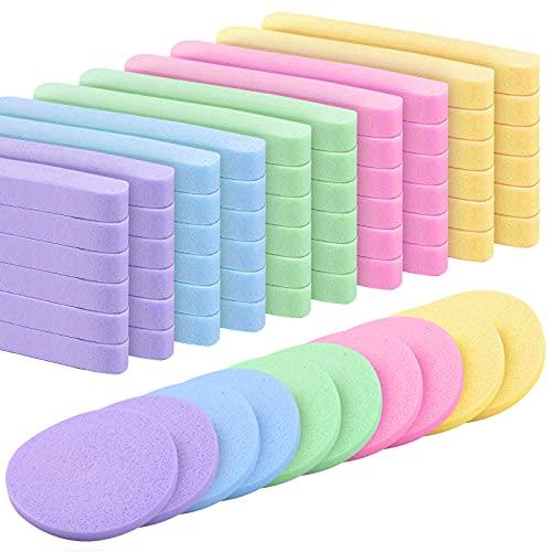60 piezas Esponja Maquillaje de Esponja Facial Comprimida para Limpieza Facial Exfoliante para spa Esponjas de Masaje Herramienta para Eliminación de Maquillaje facial esponjas de lavado 5 colores