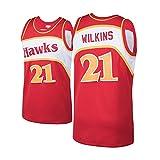 QPY Jerseys de Baloncesto Dominique Wilkins para Hombres, Dominique Wilkins Atlanta Hawks # 21 1986-87 Classics Red Swingman Jersey - Versión Bordada (S-XXL) XXL
