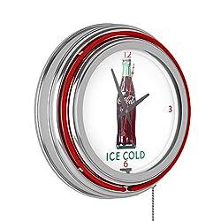 Coca Cola Ice Cold Bottle Neon Clock - 14 inch Diameter