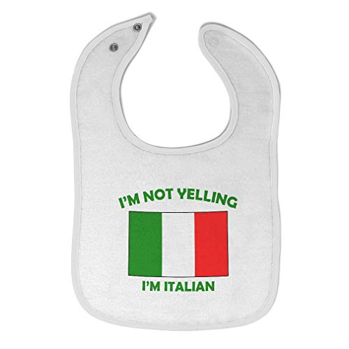 Custom Baby Bibs Burp Cloths I'm Not Yelling I Am Italian Italy Cotton Baby Items for Baby Girl & Boy White Design Only