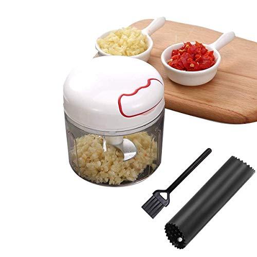 GWFVA Mini-Zerkleinerer, Knoblauchschneider, manueller Lebensmittelschneider, für Gemüse, Obst, Fleisch, Nüsse, Zwiebeln, leicht zu reinigen – Edelstahlklingen